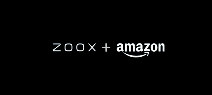 Zoox and Amazon logos in black and white.