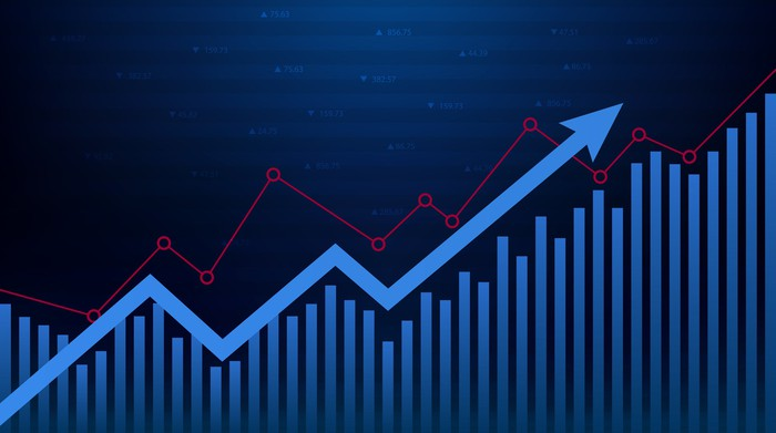 Red and blue graphs on a dark background with an ascending blue arrow.