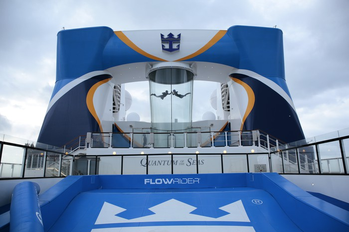 A wind tunnel and surfing simulator at the top of a Royal Caribbean cruise ship.