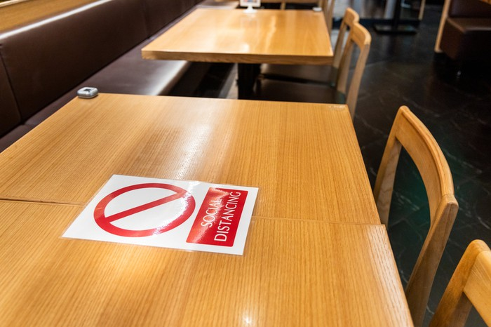 Restaurant table with social distancing sign