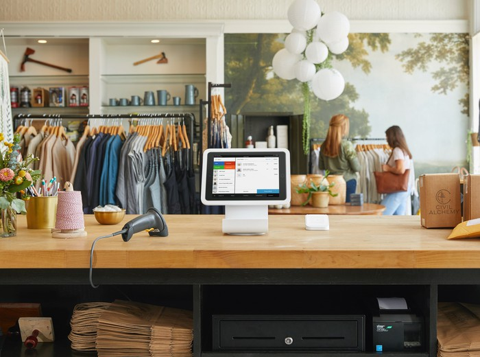 Square for Retail being used at an apparel store.