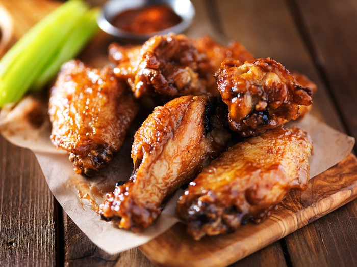 Order of fried BBQ chicken wings