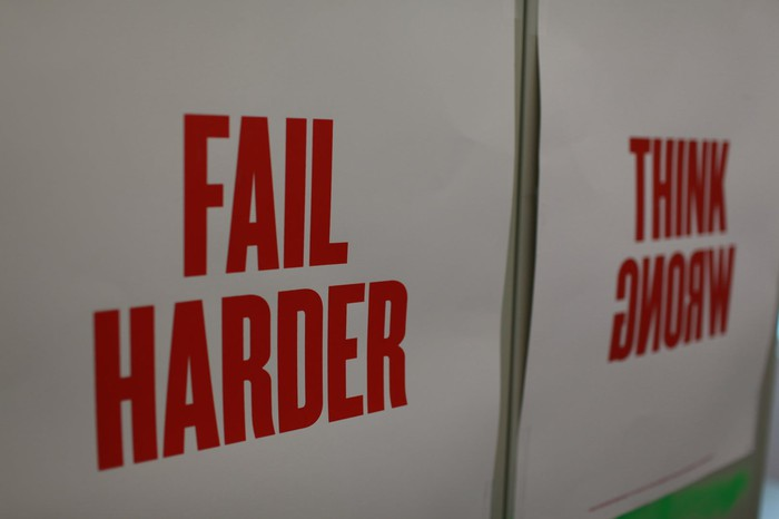 """Campus poster that says """"Fail Harder"""" and """"Think Wrong"""""""