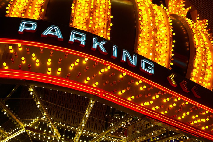 Casino parking sign
