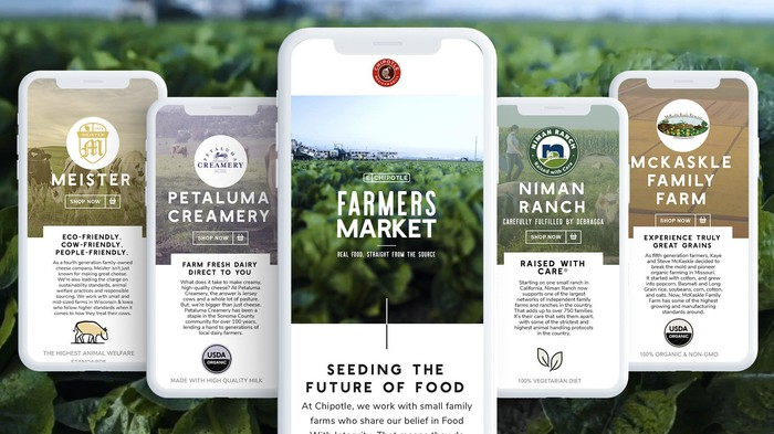 Five smartphones showing Chipotle's virtual farmers market and each of the four initial farms participating.