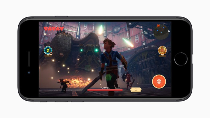 A game running on Apple's new iPhone SE.