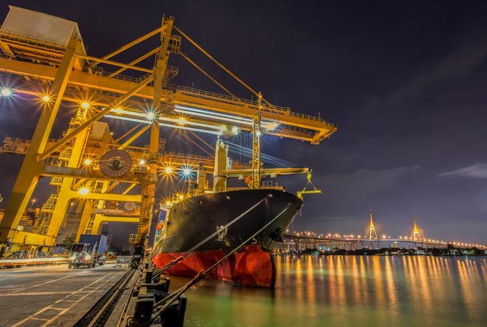Crane loading a container ship.