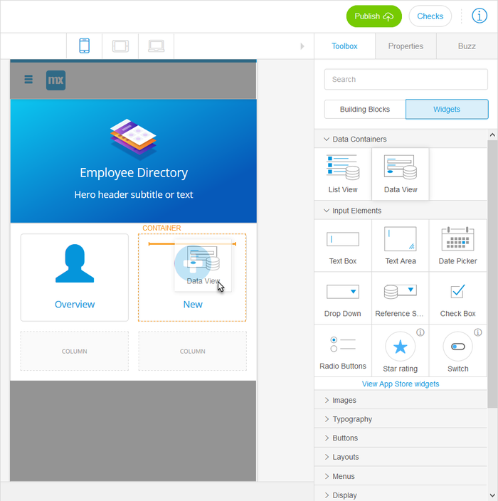 A screenshot of Mendix's low-code software development platform.