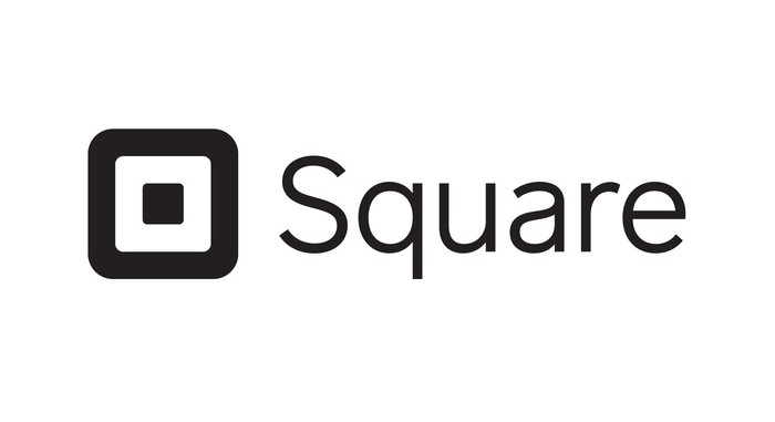 Square logo and company name in black.