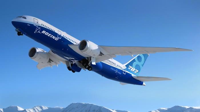 A Boeing 787 Dreamliner takes flight.