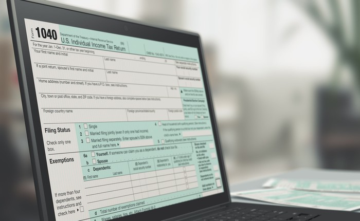 Form 1040 on laptop screen