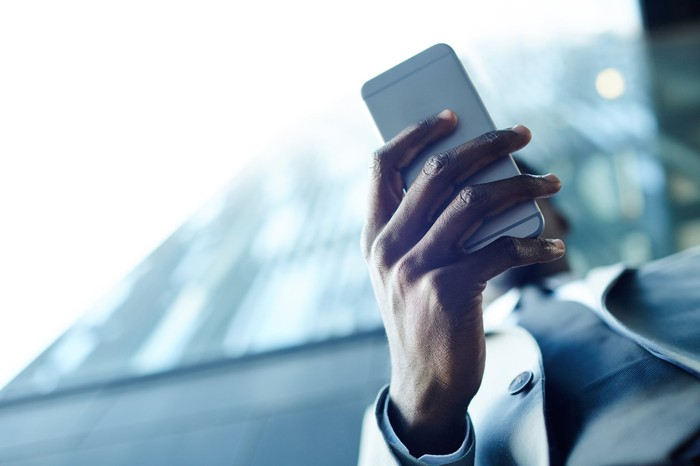 Man using a smartphone.