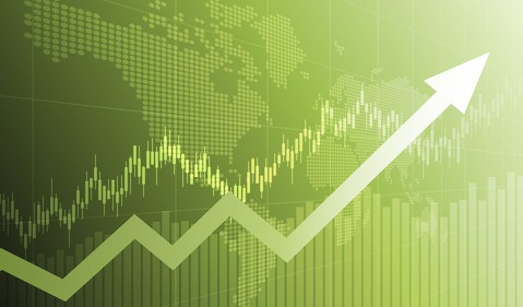 Widescreen financial chart with uptrend line arrow graph and world map on green color background
