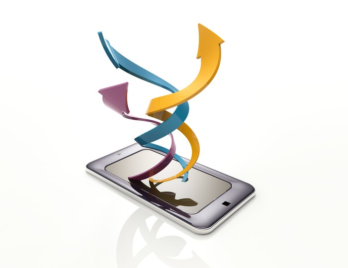 Several colorful arrows rise in a twirling braid from a smartphone screen.