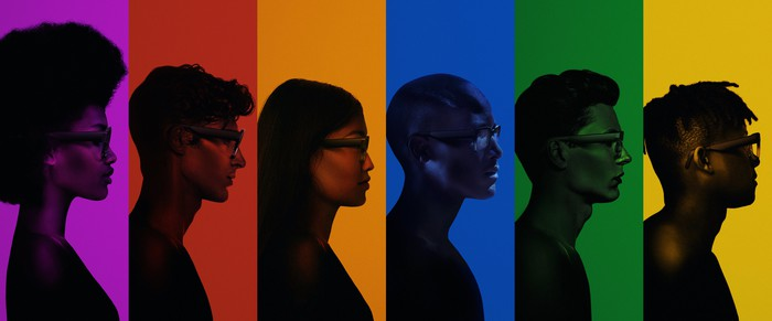 Profiles of six people wearing North's Focal smart glasses.