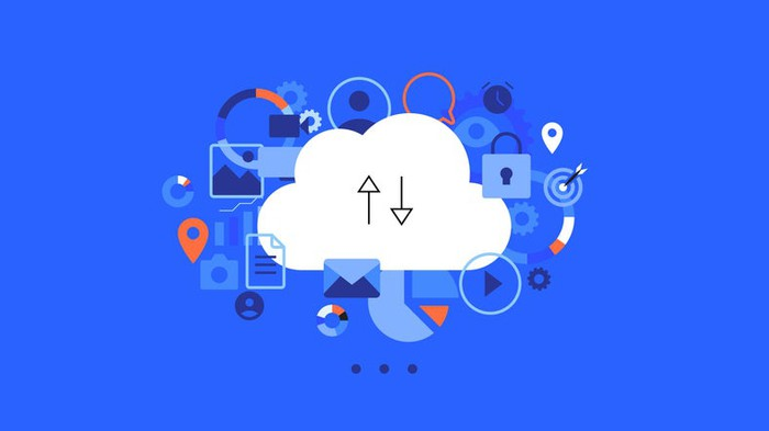 Abstract icon representing file storage in the cloud.