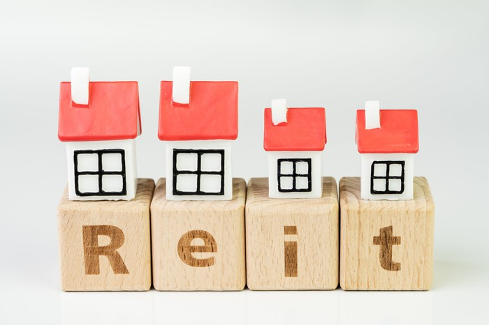 REIT spelled out in wood blocks with tiny model houses above.