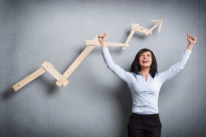 A woman celebrating as a stock chart on the wall behind her moves higher.