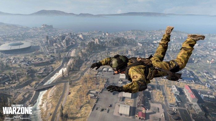 """A character skydiving in Activision Blizzard's """"Call of Duty: Warzone."""""""