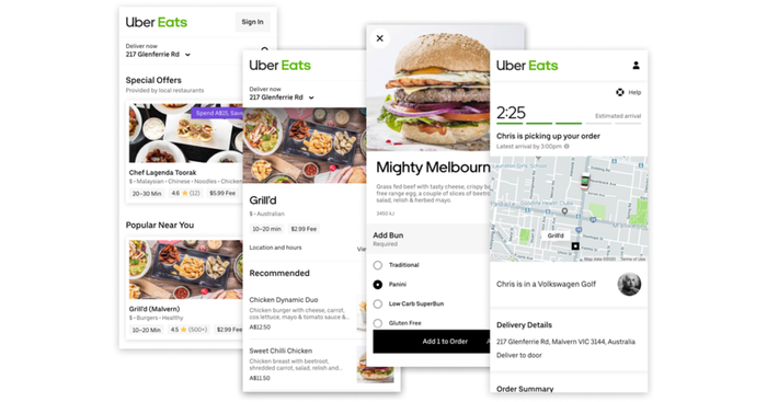 Screenshots of the Uber Eats app.