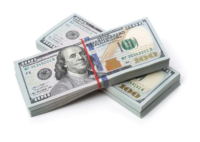 Two stacks of hundred-dollar bills