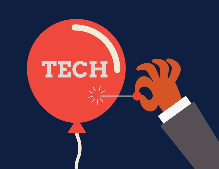 Illustration depicting a tech balloon about to be popped by a person holding a pin.