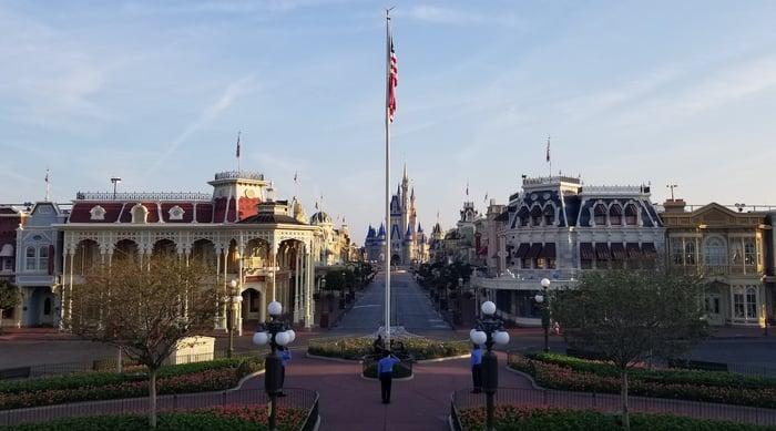 An empty Disney theme park