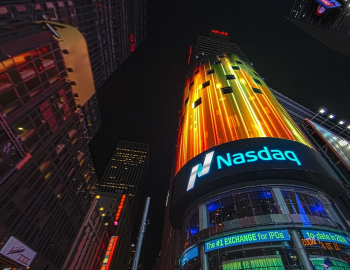 Ground view of Nasdaq building in Times Square, New York.