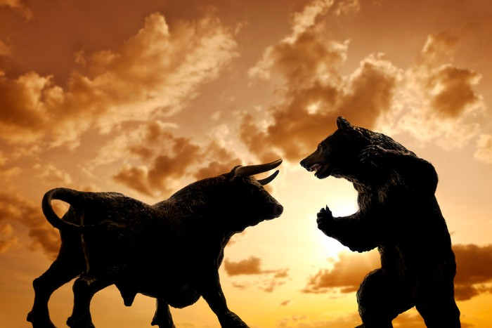 A bull and a bear square off to fight.