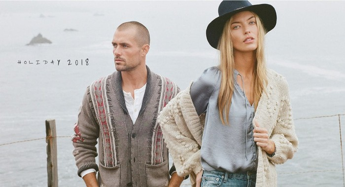 Two people modeling Lucky Brand clothes.