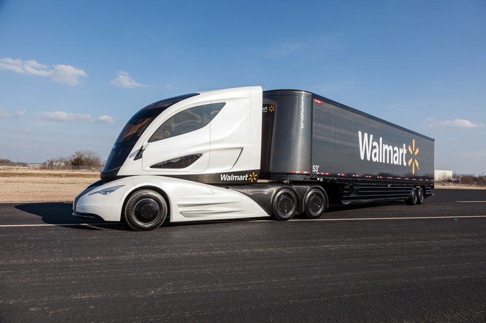 Photo of a modern Walmart 18-wheeler truck.
