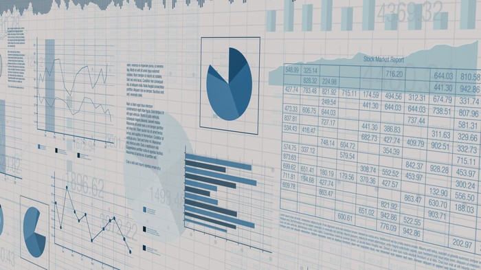 Graphs and tables on a spreadsheet.