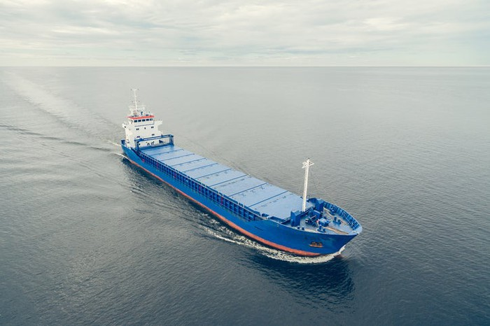 A cargo ship in open waters
