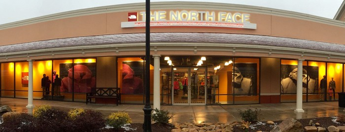 A store front of The North Face's retail store.