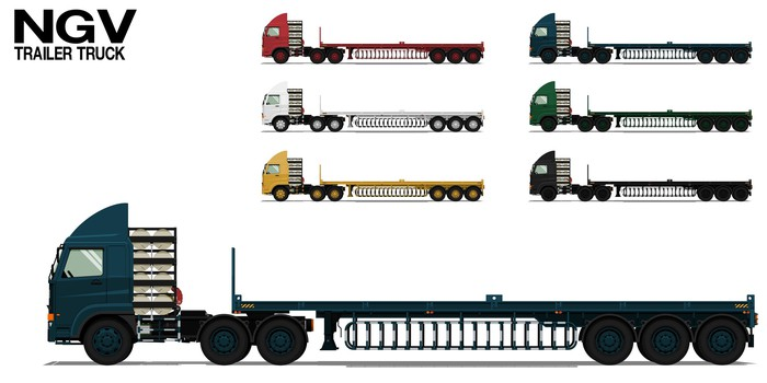 Profile views of natural-gas-powered trailer trucks