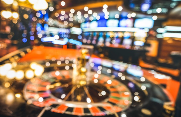 Picture of a casino floor with a blurred lens.