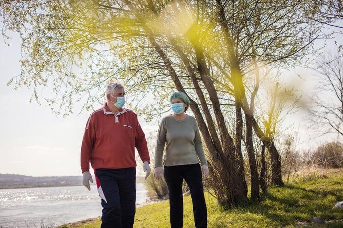 Senior couple at the park wearing masks