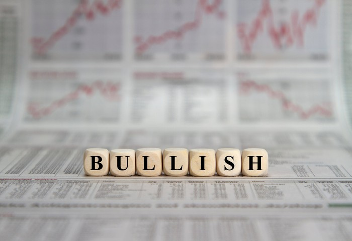 """The word """"BULLISH"""" is spelled out in blocks with stock charts in the background."""