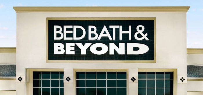 Top of storefront showing Bed Bath & Beyond logo.