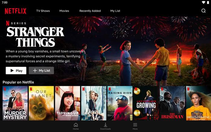 Pagina web Netflix cu programare recomandată.