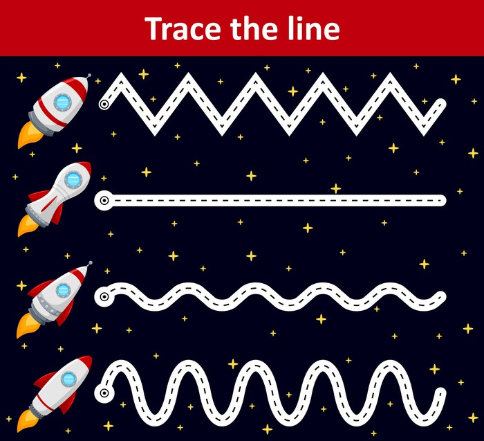 A line-tracing exercise showing four rockets with zig-zag flight paths.