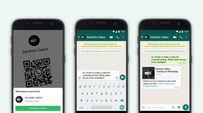 Screenshots of the WhatsApp Business App