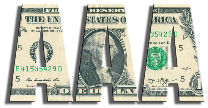 Three large letter A's made out of a one dollar bill, signifying a AAA credit rating.