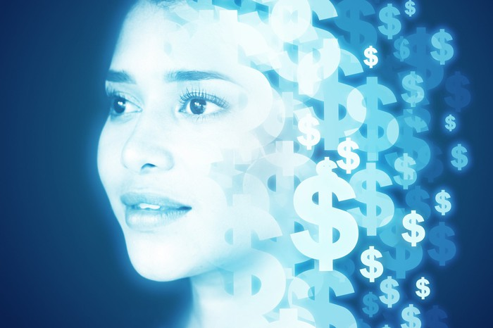 Woman with dollar signs next to her head