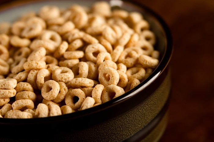 A bowl of Cheerios cereal.