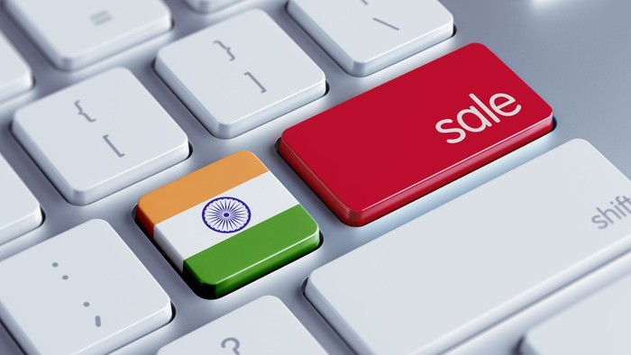 Computer keyboard with India flag and word sale