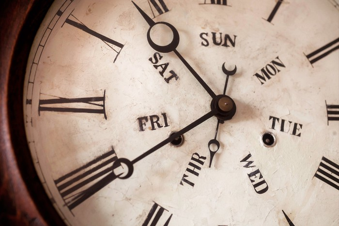 Hands of antique clock with days of a week.