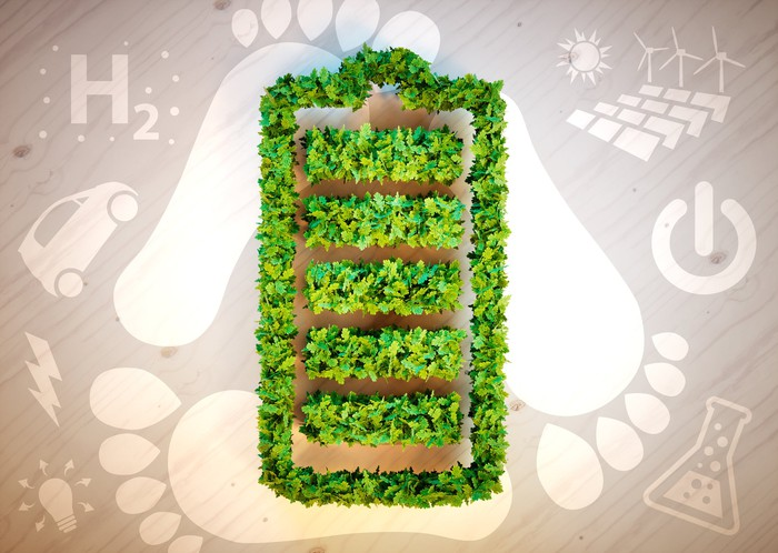 Illustration of battery made of leaves with H2 and alternative energy art in the background.