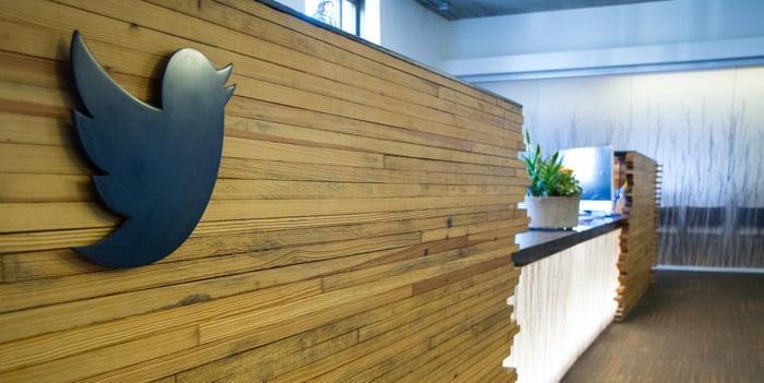 Close-up of bird logo on reception desk at Twitter headquarters