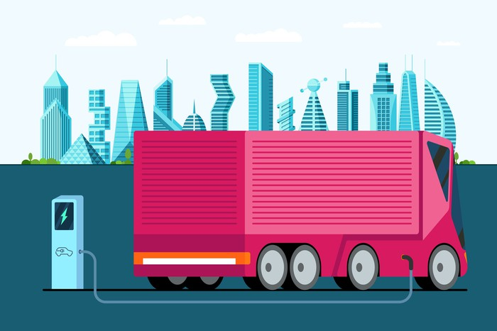 drawing of a pink electric truck at a recharging station